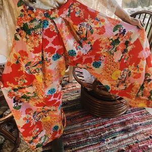 Pants - Asian printed colorful vintage tie gaucho romper